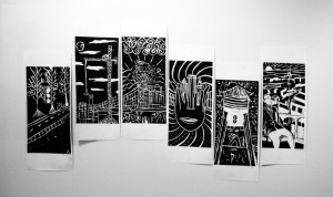 2016 Year 8 Art collaborative linocut boys